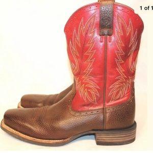 Ariat Sz 12 D Brown Red Cowboy Boots